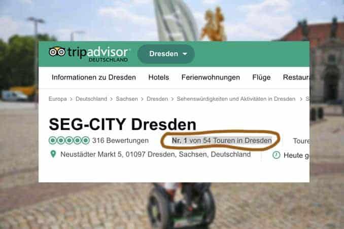 """SEG-CITY Segway Dresden Spitzenbewertung bei """"tripadvisor"""""""